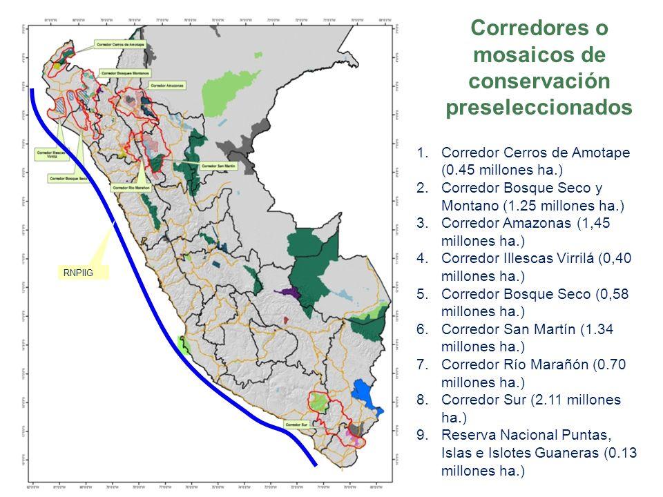 Corredores o mosaicos de conservación preseleccionados