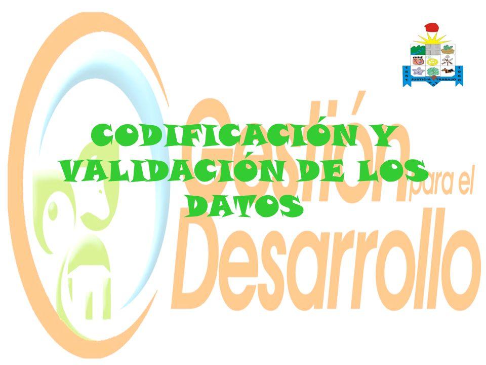 CODIFICACIÓN Y VALIDACIÓN DE LOS DATOS