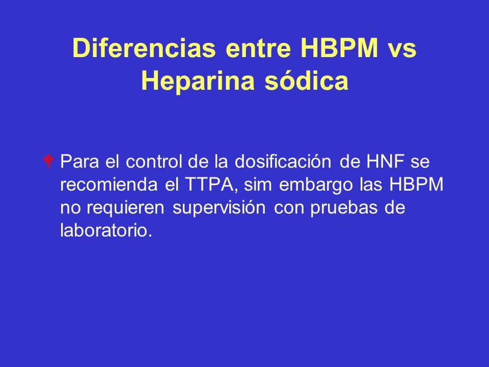 Diferencias entre HBPM vs Heparina sódica