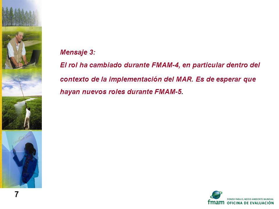 Mensaje 3: El rol ha cambiado durante FMAM-4, en particular dentro del contexto de la implementación del MAR.