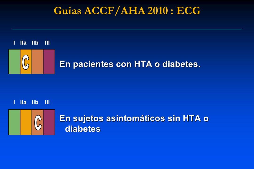 Guias ACCF/AHA 2010 : ECG En pacientes con HTA o diabetes.