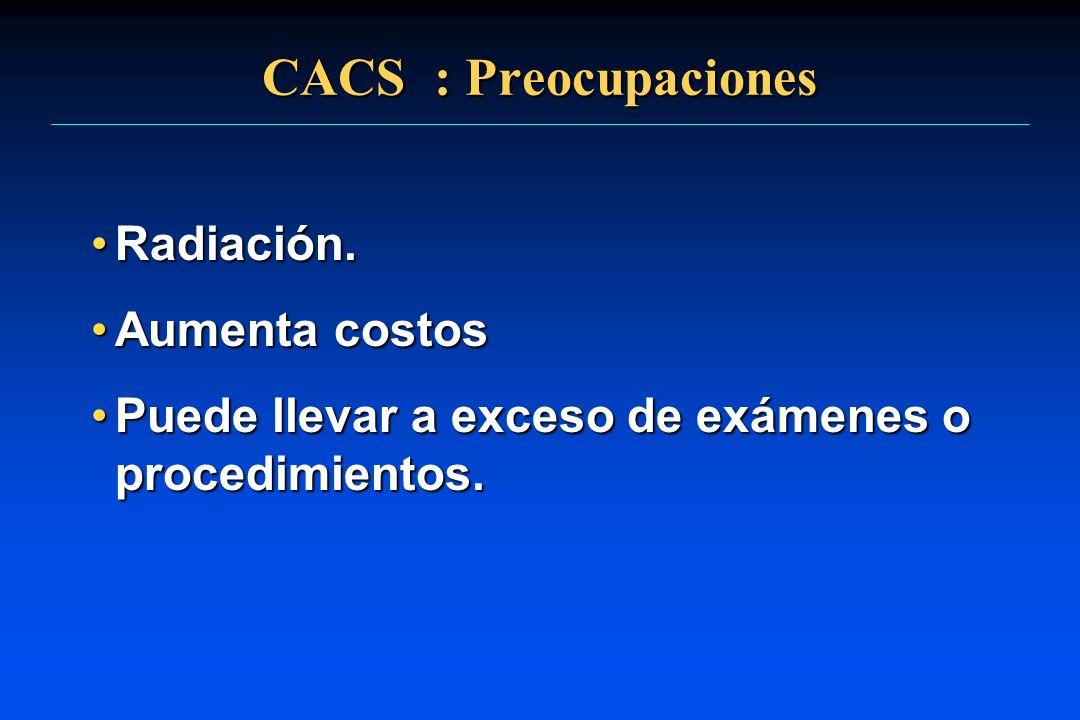 CACS : Preocupaciones Radiación. Aumenta costos