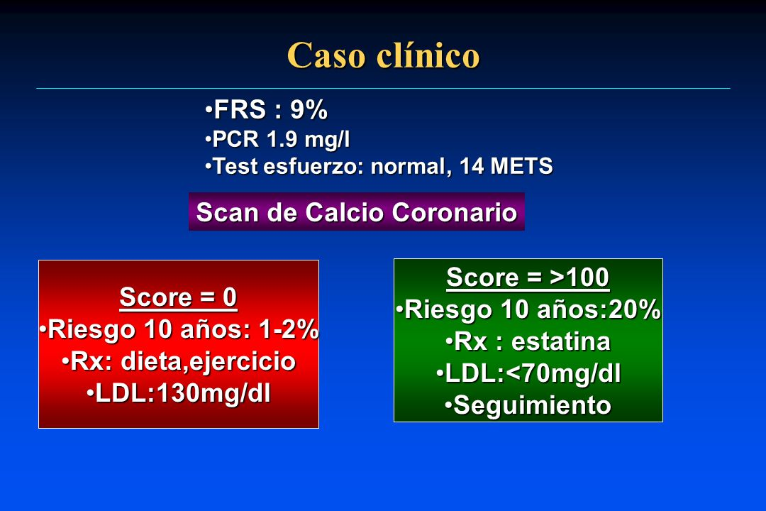 Caso clínico FRS : 9% Scan de Calcio Coronario Score = >100