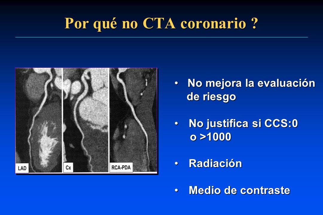 Por qué no CTA coronario