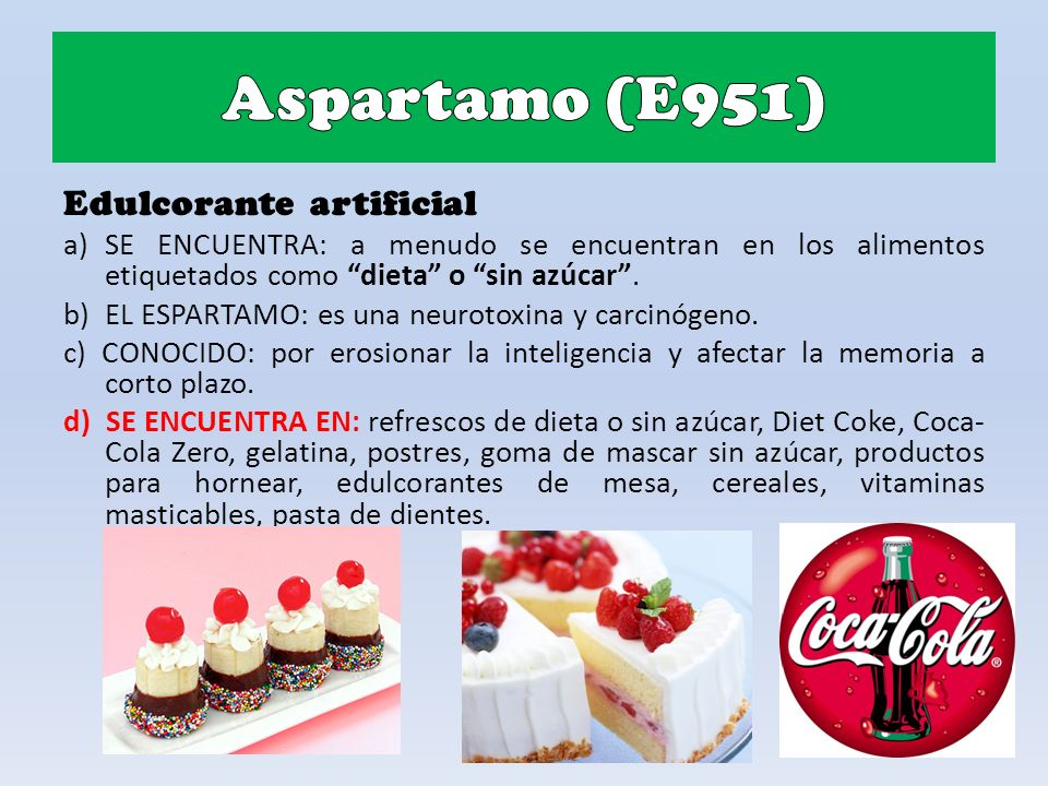 Aspartamo (E951) Edulcorante artificial