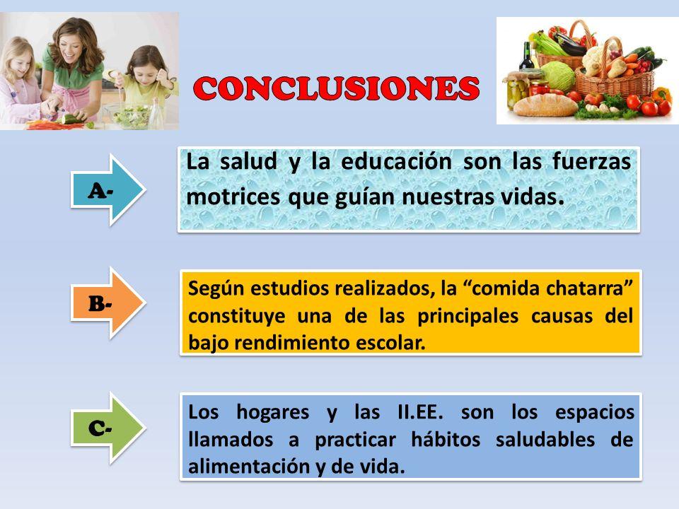 CONCLUSIONES La salud y la educación son las fuerzas motrices que guían nuestras vidas. A- B-