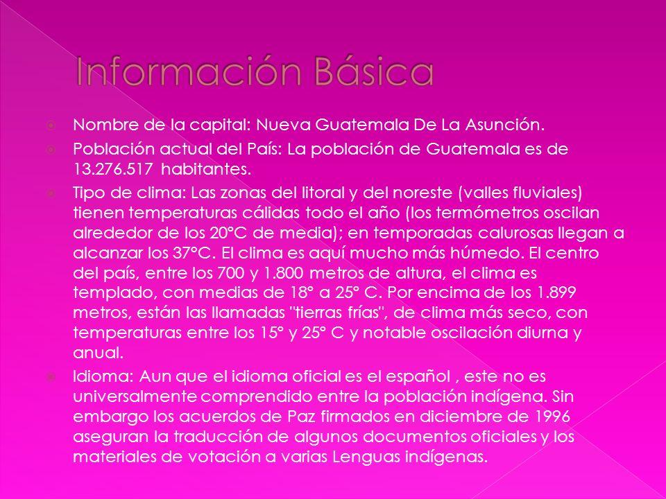Información Básica Nombre de la capital: Nueva Guatemala De La Asunción.