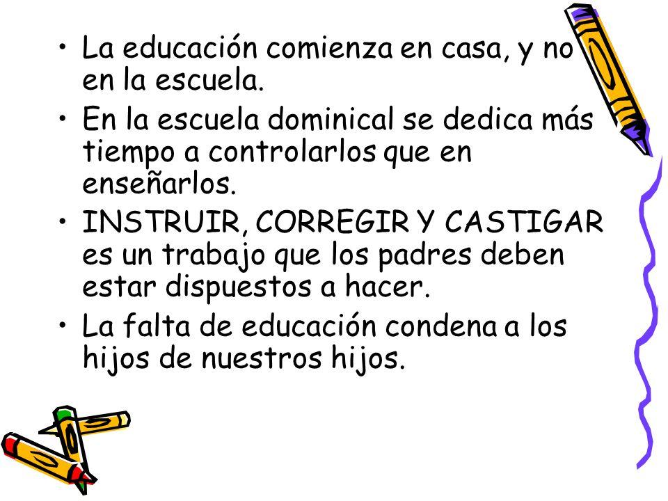 La educación comienza en casa, y no en la escuela.