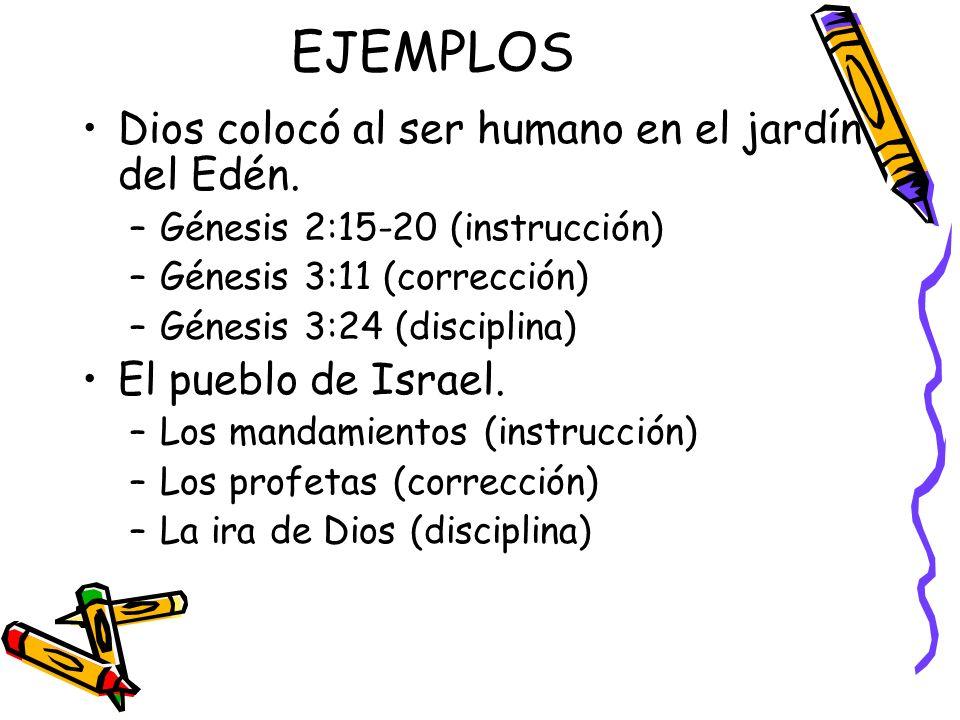 EJEMPLOS Dios colocó al ser humano en el jardín del Edén.