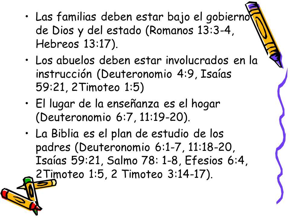 Las familias deben estar bajo el gobierno de Dios y del estado (Romanos 13:3-4, Hebreos 13:17).
