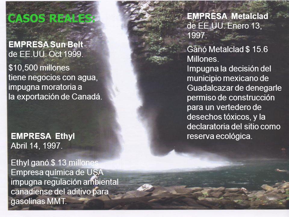 CASOS REALES: EMPRESA Metalclad de EE.UU. Enero 13, 1997.