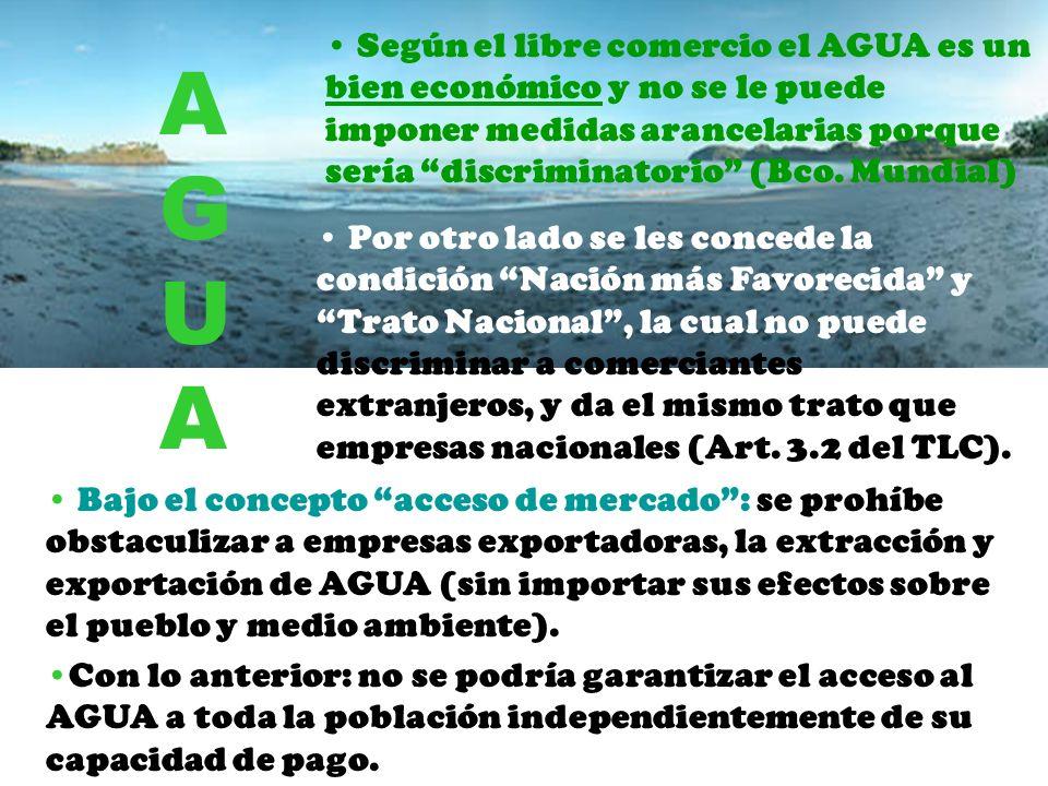 Según el libre comercio el AGUA es un bien económico y no se le puede imponer medidas arancelarias porque sería discriminatorio (Bco. Mundial)