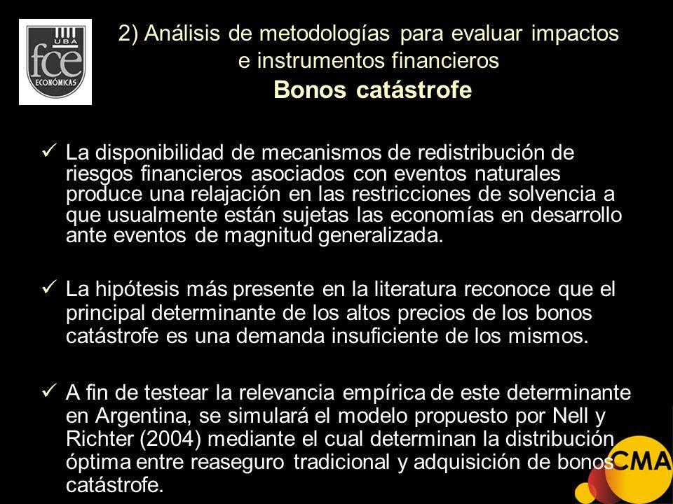 2) Análisis de metodologías para evaluar impactos e instrumentos financieros Bonos catástrofe