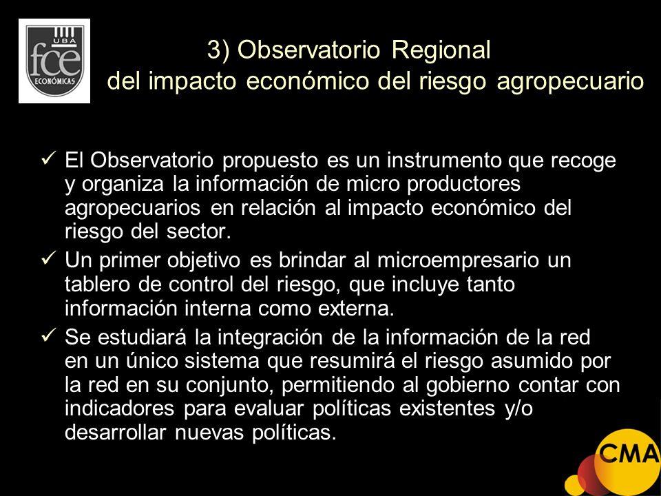 3) Observatorio Regional del impacto económico del riesgo agropecuario