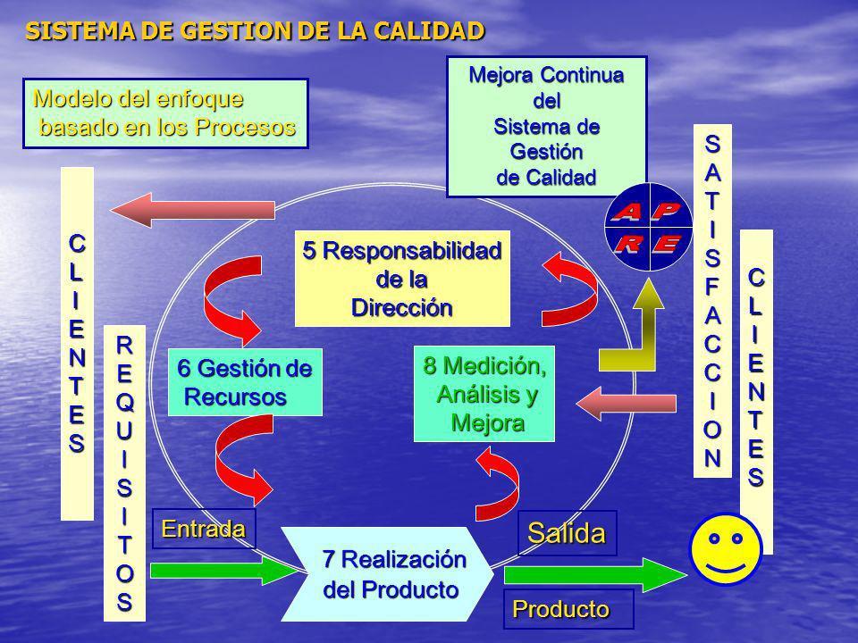 Salida SISTEMA DE GESTION DE LA CALIDAD Modelo del enfoque