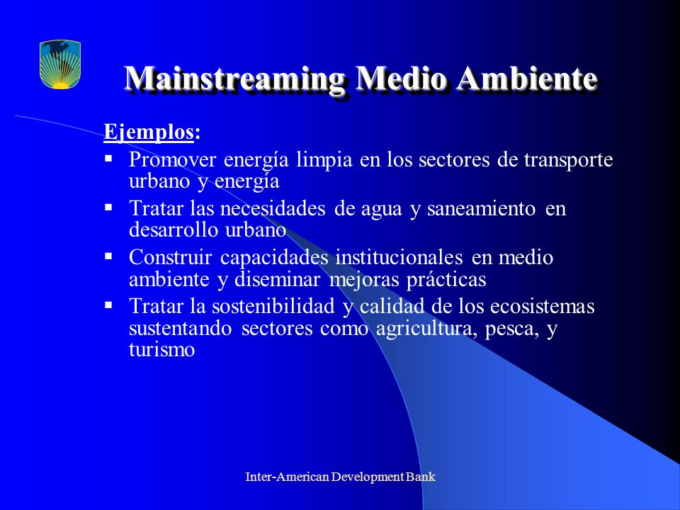 Mainstreaming Medio Ambiente