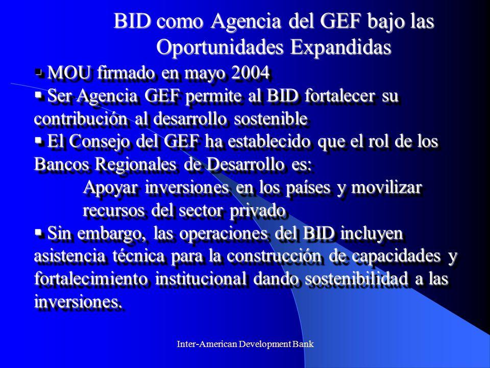 BID como Agencia del GEF bajo las Oportunidades Expandidas