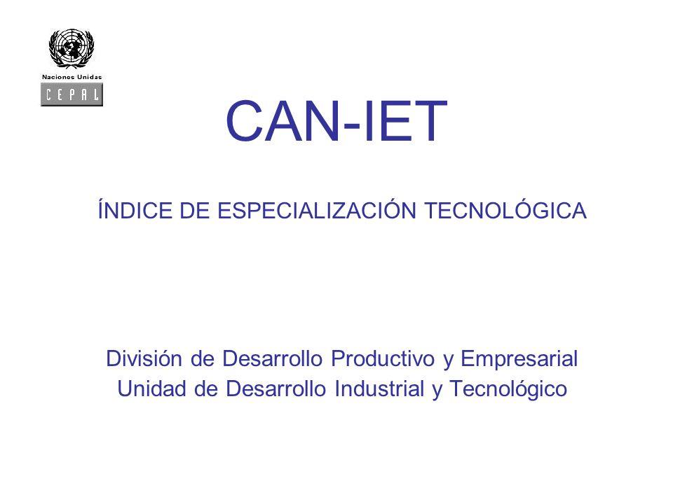 CAN-IET ÍNDICE DE ESPECIALIZACIÓN TECNOLÓGICA