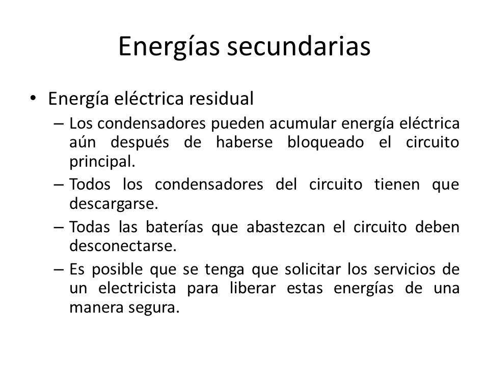 Energías secundarias Energía eléctrica residual