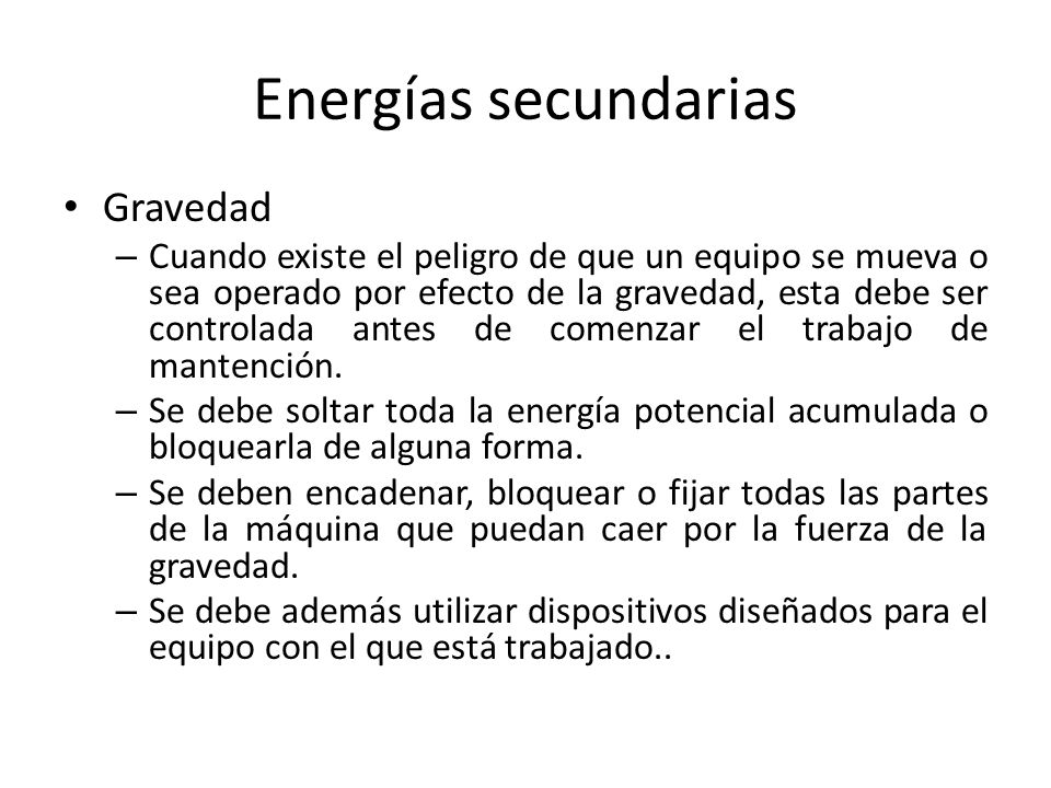 Energías secundarias Gravedad