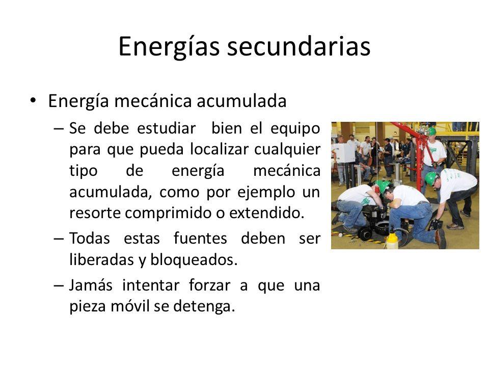 Energías secundarias Energía mecánica acumulada