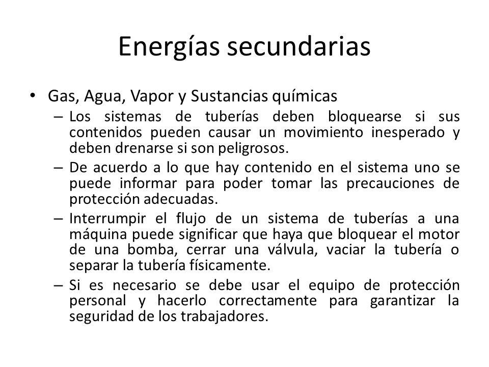 Energías secundarias Gas, Agua, Vapor y Sustancias químicas