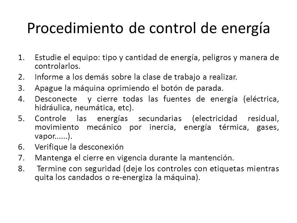 Procedimiento de control de energía