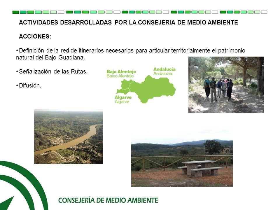 ACTIVIDADES DESARROLLADAS POR LA CONSEJERIA DE MEDIO AMBIENTE