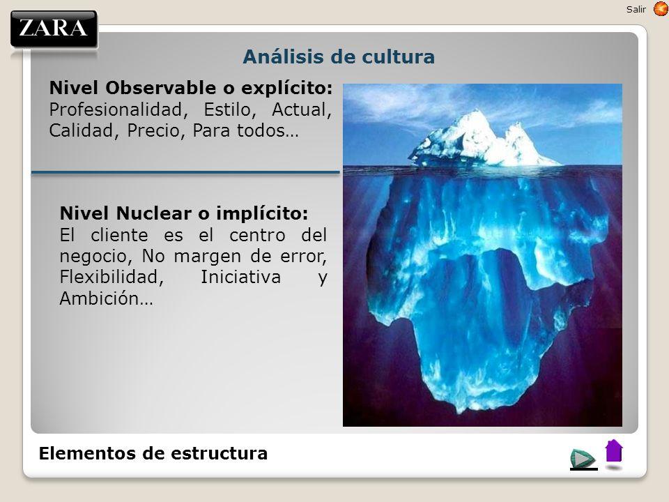 Análisis de cultura Nivel Observable o explícito: