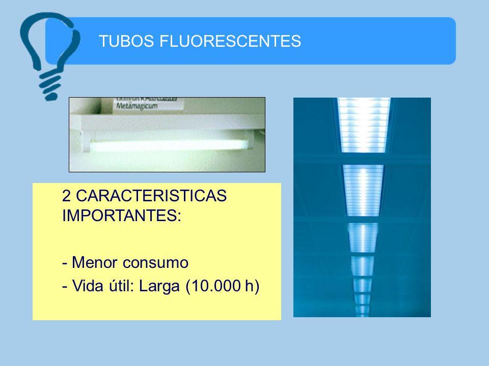 TUBOS FLUORESCENTES 2 CARACTERISTICAS IMPORTANTES: - Menor consumo Vida útil: Larga (10.000 h)