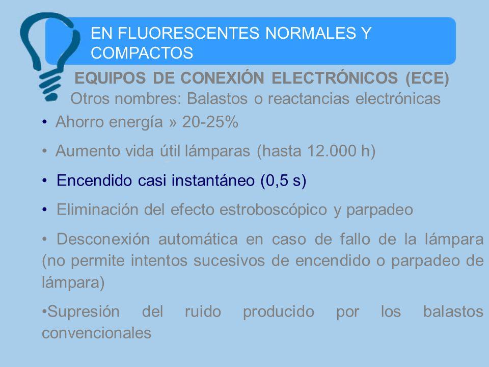 EN FLUORESCENTES NORMALES Y COMPACTOS