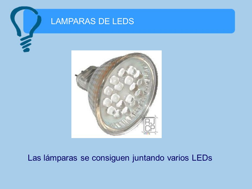 LAMPARAS DE LEDS Las lámparas se consiguen juntando varios LEDs