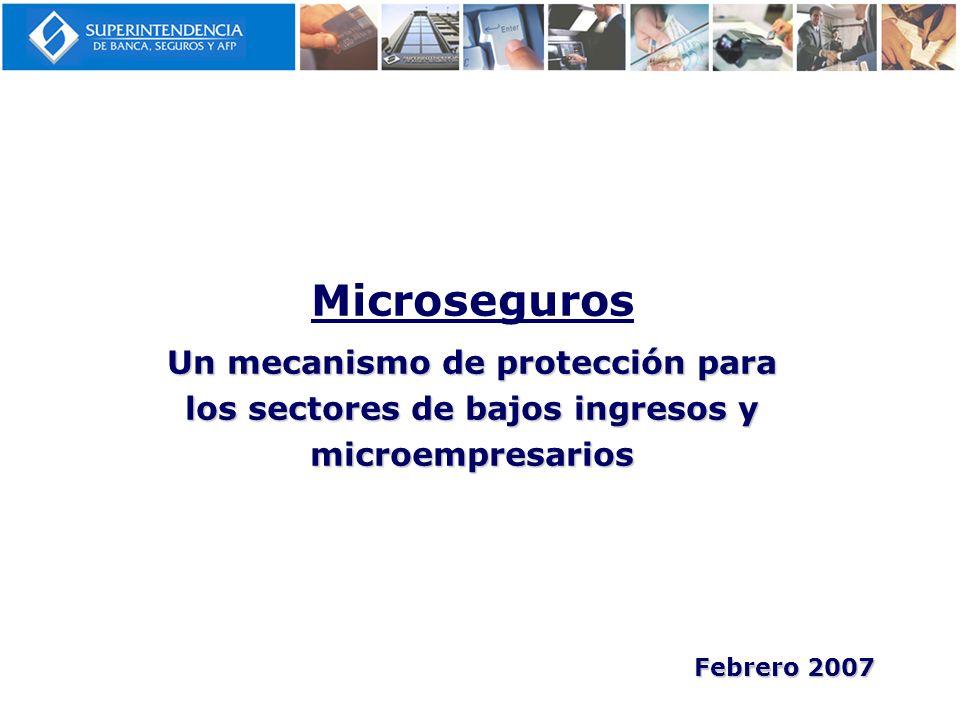 Microseguros Un mecanismo de protección para los sectores de bajos ingresos y microempresarios.