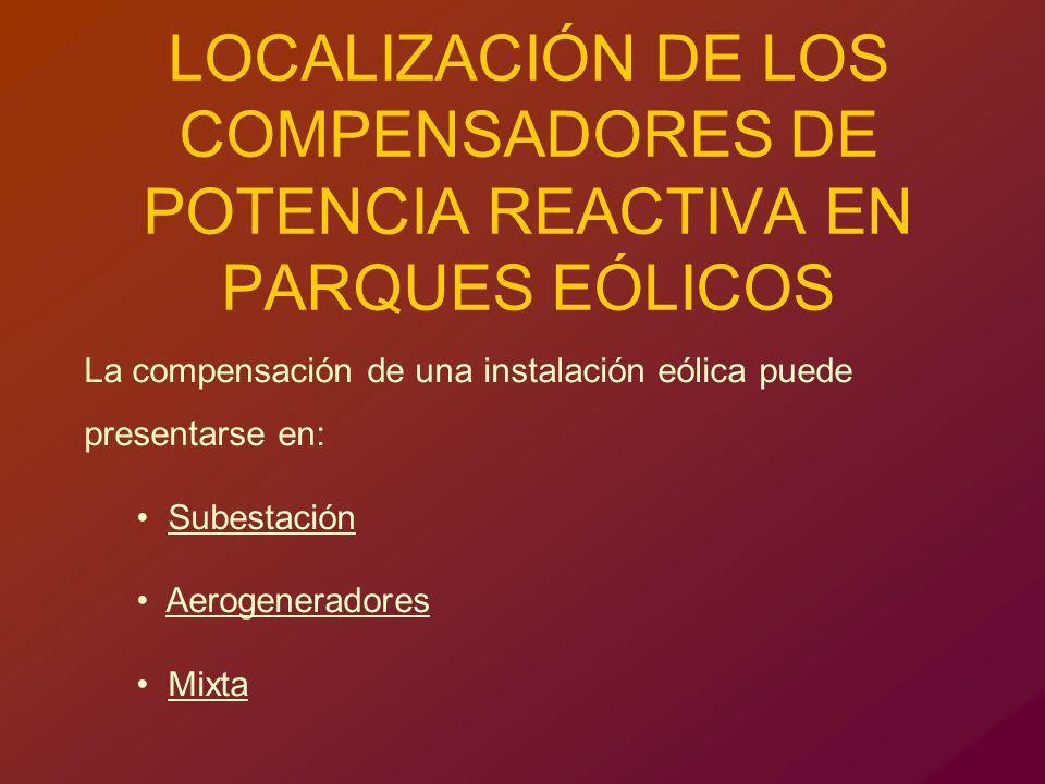 LOCALIZACIÓN DE LOS COMPENSADORES DE POTENCIA REACTIVA EN PARQUES EÓLICOS