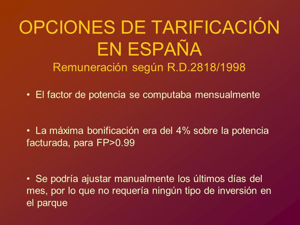 OPCIONES DE TARIFICACIÓN EN ESPAÑA Remuneración según R.D.2818/1998