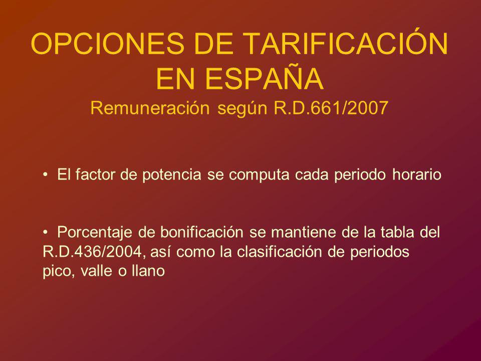 OPCIONES DE TARIFICACIÓN EN ESPAÑA Remuneración según R.D.661/2007