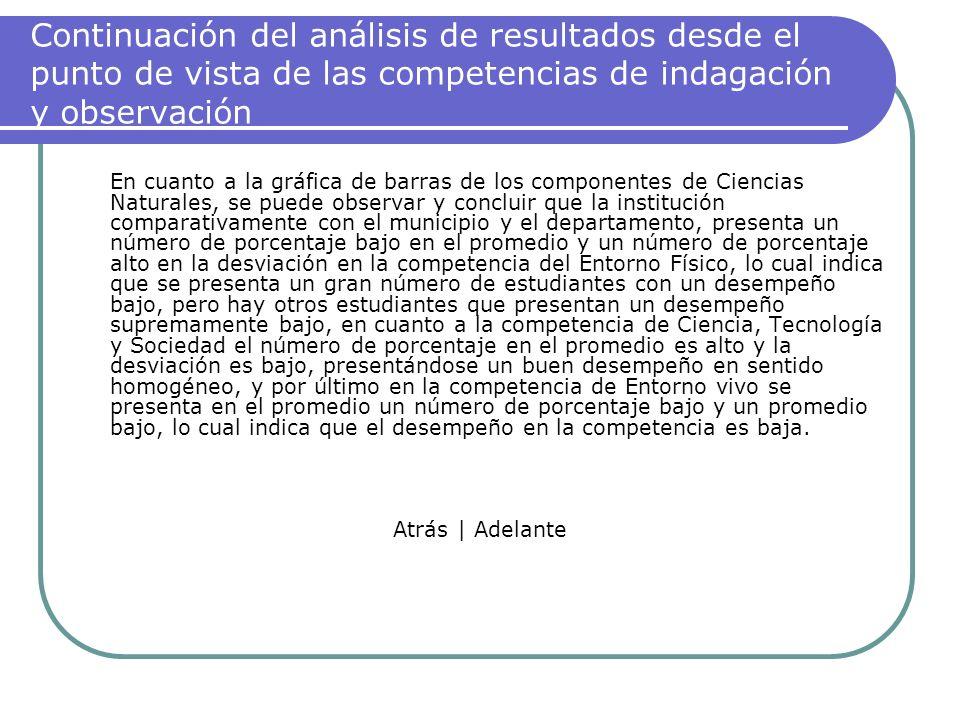 Continuación del análisis de resultados desde el punto de vista de las competencias de indagación y observación