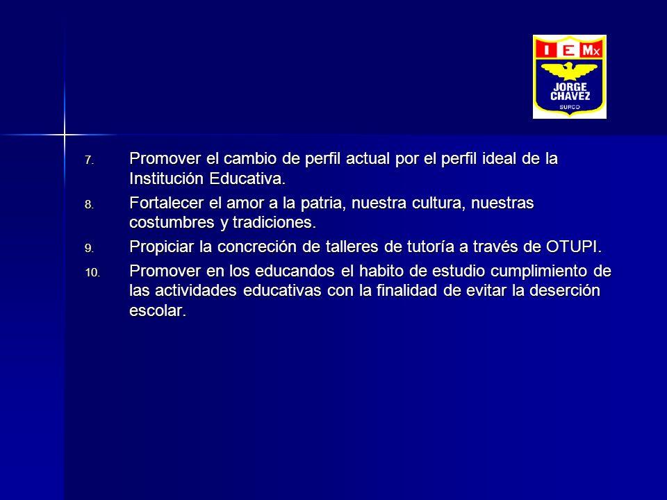 Promover el cambio de perfil actual por el perfil ideal de la Institución Educativa.