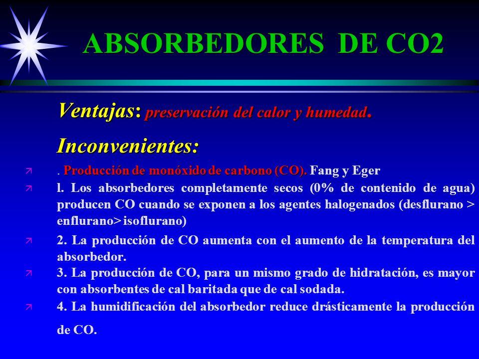 ABSORBEDORES DE CO2 Ventajas: preservación del calor y humedad. Inconvenientes: . Producción de monóxido de carbono (CO). Fang y Eger.