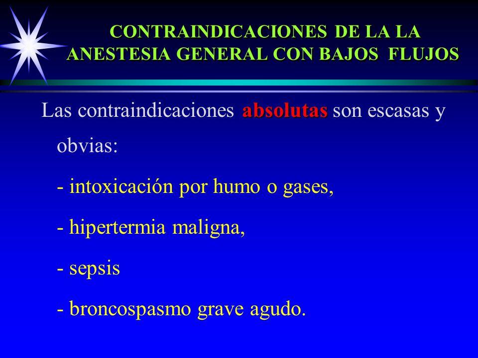 CONTRAINDICACIONES DE LA LA ANESTESIA GENERAL CON BAJOS FLUJOS