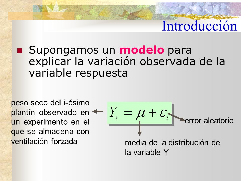 Introducción Supongamos un modelo para explicar la variación observada de la variable respuesta.