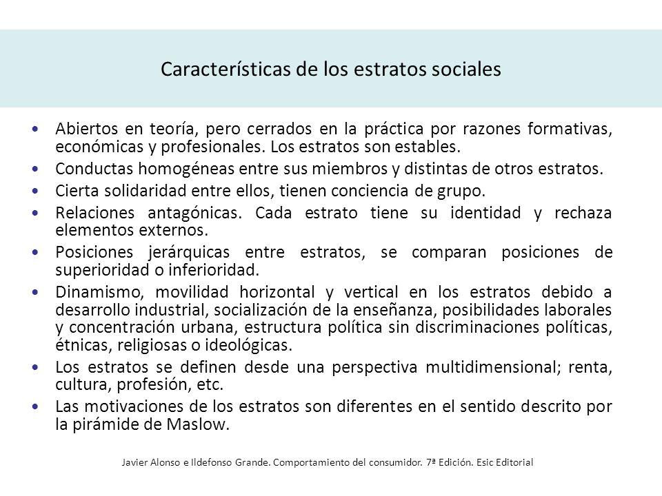 Características de los estratos sociales