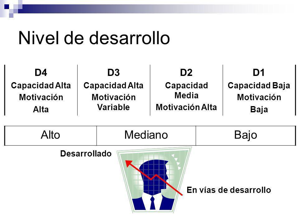Nivel de desarrollo Alto Mediano Bajo D4 D3 D2 D1 Desarrollado