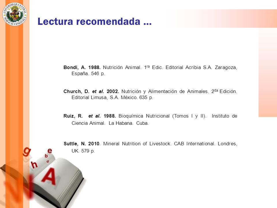 Lectura recomendada … Bondi, A. 1988. Nutrición Animal. 1ra Edic. Editorial Acribia S.A. Zaragoza, España. 546 p.