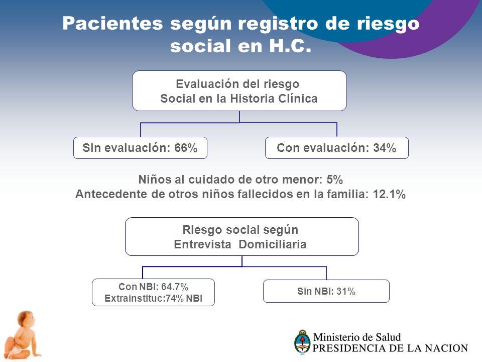 Pacientes según registro de riesgo social en H.C.
