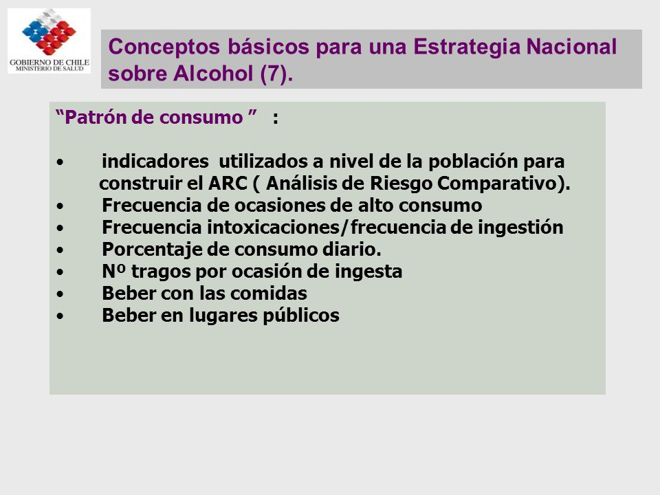 Conceptos básicos para una Estrategia Nacional sobre Alcohol (7).