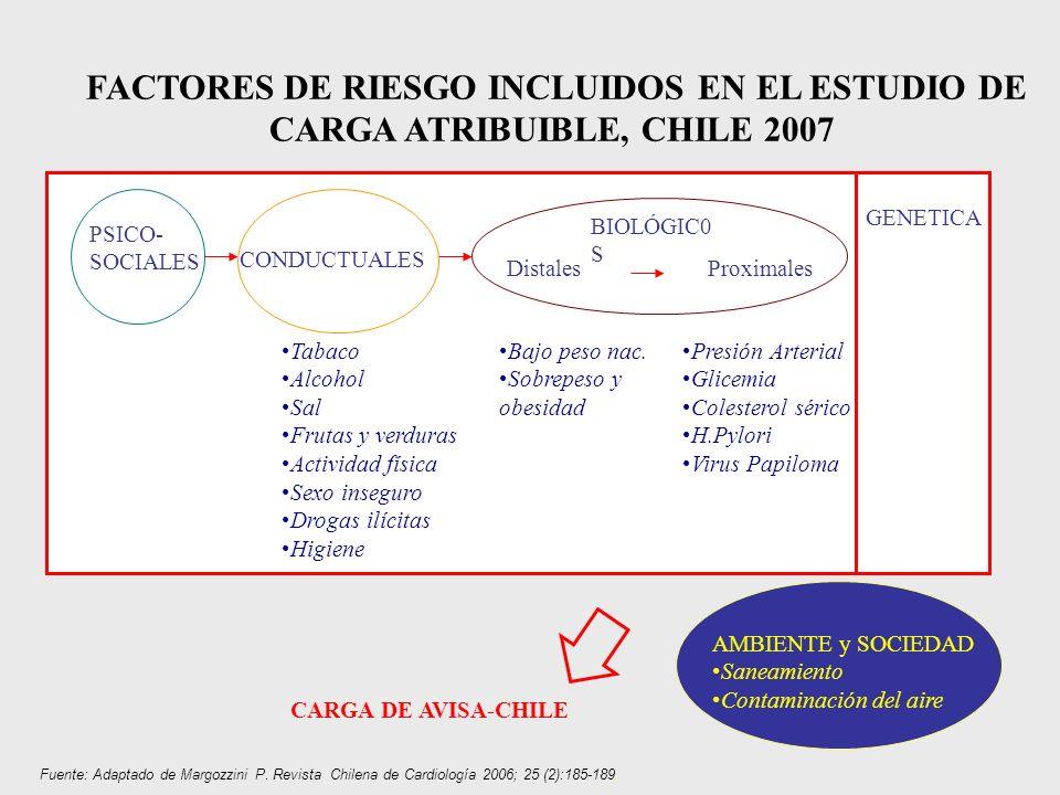 FACTORES DE RIESGO INCLUIDOS EN EL ESTUDIO DE CARGA ATRIBUIBLE, CHILE 2007