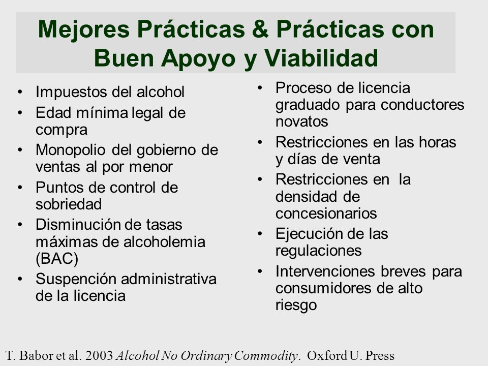 Mejores Prácticas & Prácticas con Buen Apoyo y Viabilidad