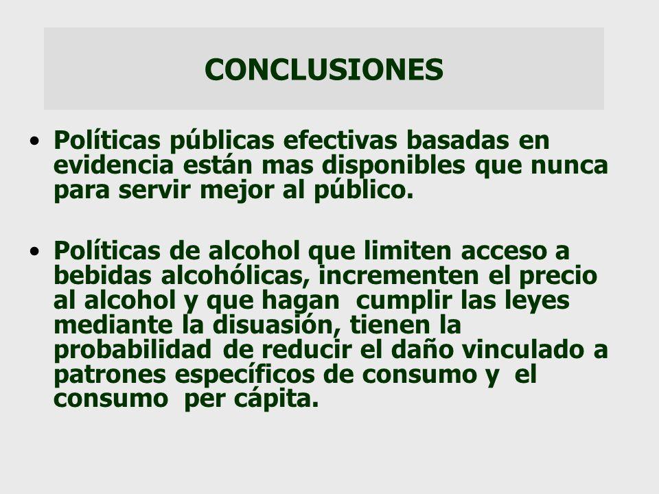 CONCLUSIONES Políticas públicas efectivas basadas en evidencia están mas disponibles que nunca para servir mejor al público.
