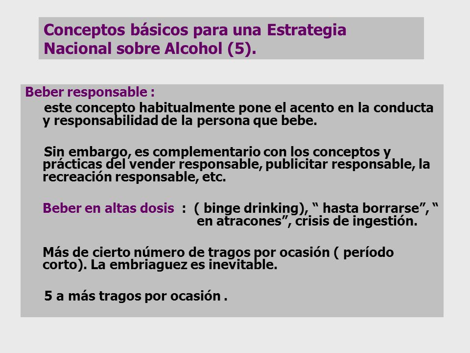 Conceptos básicos para una Estrategia Nacional sobre Alcohol (5).